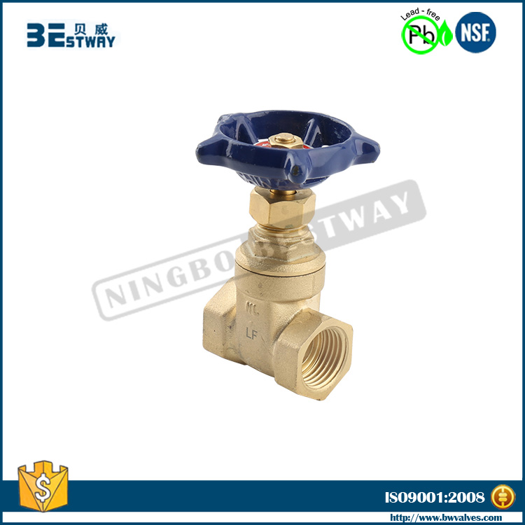 NSF approved female thread brass stem gate valve (BW-LFG04)